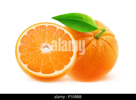 Isolated fruits. One and half oranges isolated on white background with clipping path - Stock Photo