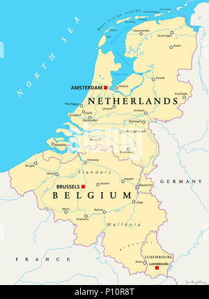 Benelux. Belgium, Netherlands and Luxembourg. Political map with capitals, borders and important cities. Benelux Union. - Stock Photo