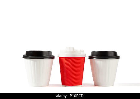 Three plastic blank coffee cups isolated on white with copy space - Stock Photo