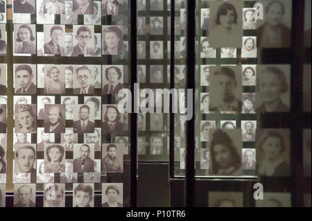 Pictures of Jewish victims of Holocaust as a part of exhibion in Museum of the Second World War in Gdansk, Poland. January 28th 2017  © Wojciech Stroz - Stock Photo