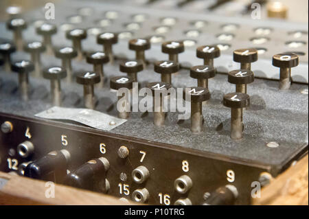 Enigma machine, German electro mechanical rotor cipher machine, used by Nazi German to protect commercial, diplomatic and military communication. Poli - Stock Photo
