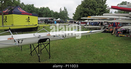 Viola Beach commemorative quad boat, from Warrington Rowing Club, named at Dorney Rowing Centre 25th May 2018 - Stock Photo