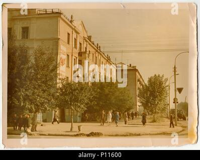 USSR - CIRCA 1970s: Vintage photo shows unknown town in USSR (Russia). - Stock Photo