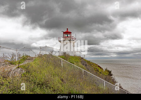 Cape Enrage Lighthouse, New Brunswick, Canada. Views from front and back. Unmanned lighthouse. - Stock Photo