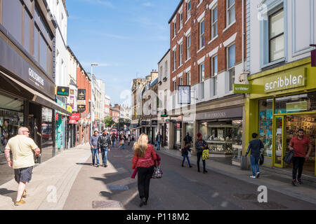 Pedestrianised shopping area. Shoppers on Commercial Street in Leeds city centre, West Yorkshire, England, UK - Stock Photo