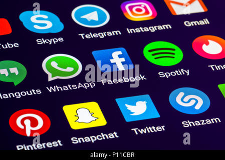 Social media shortcuts on a tablet screen. Social networking app icons on smartphone. Social media concept. - Stock Photo