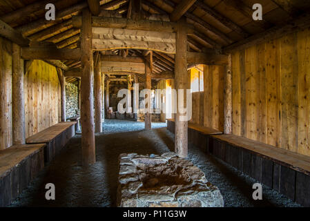 Replica of Norse Viking longhouse at Brookpoint, Unst, Shetland Islands, Scotland, UK - Stock Photo