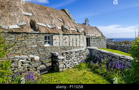 Croft House Museum / Crofthouse Museum, restored straw-thatched cottage at Boddam, Dunrossness, Shetland Islands, Scotland, UK - Stock Photo