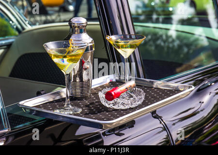 Modern Car Hop Tray With Cocktails And Cigar - Stock Photo
