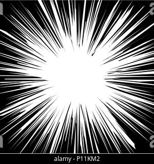 Abstract Comic horizontal speed lines background-Black and white vector illustration. - Stock Photo
