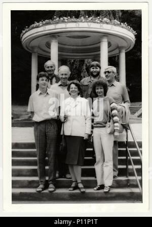 THE CZECHOSLOVAK SOCIALIST REPUBLIC - CIRCA 1980s: Vintage photo shows group of people at spa resort. - Stock Photo