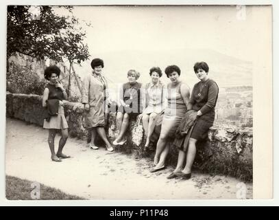 THE CZECHOSLOVAK SOCIALIST REPUBLIC - CIRCA 1960s: Vintage photo shows group of women on vacation. - Stock Photo