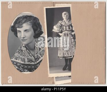 HODONIN, THE CZECHOSLOVAK REPUBLIC - CIRCA 1920s: Vintage photo shows set of photos show woman in a folk costum. - Stock Photo