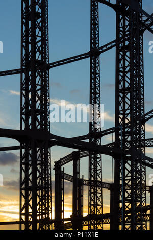 East London, England, UK - 17 February 2018 : View of Empty Steel Gasholder Structures at Sunset - Stock Photo