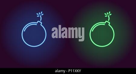 Neon icon of Blue and Green Bomb. Vector illustration of Blue and Green Neon Bomb consisting of neon outlines, with backlight on the dark background - Stock Photo