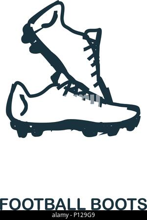 Football Boots icon. Mobile apps, printing and more usage. Simple element sing. Monochrome Football Boots icon illustration. - Stock Photo