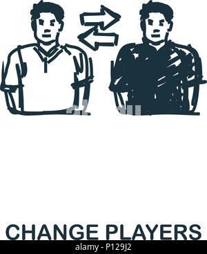 Change Players icon. Mobile apps, printing and more usage. Simple element sing. Monochrome Change Players icon illustration. - Stock Photo