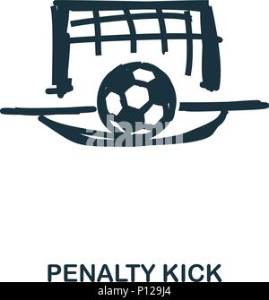 Penalty Kick icon. Mobile apps, printing and more usage. Simple element sing. Monochrome Penalty Kick icon illustration. - Stock Photo