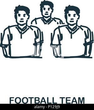 Football Team icon. Mobile apps, printing and more usage. Simple element sing. Monochrome Football Team icon illustration. - Stock Photo