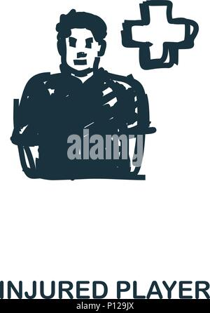 Injured Player icon. Mobile apps, printing and more usage. Simple element sing. Monochrome Injured Player icon illustration. - Stock Photo