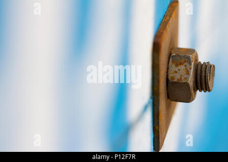 Close up of rusty nut and bolt - Stock Photo