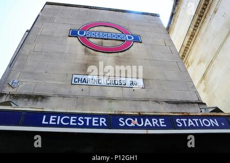 Leicester Square London Underground Tube Station, Charing Cross Road, London, UK - Stock Photo