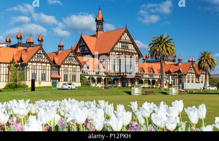 Rotorua Museum of Art and History Te Whare Taonga o Te Arawa, Government Gardens, Rotorua, North Island, New Zealand - Stock Photo