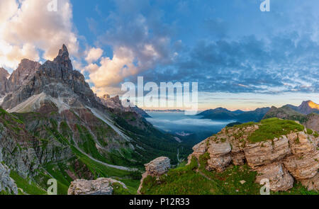 The Rolle Pass (Italian: Passo Rolle) at sunrise, Trentino, Italy - Stock Photo