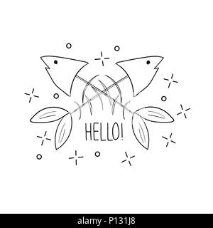 Hand drawn fish skeleton. Sketch style. Vector illustration. T-shirt print - Stock Photo