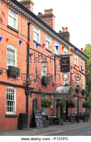 Early Morning View Of The Angel @ King Street, Knutsford, Cheshire, England. Summer June 2018 - Stock Photo