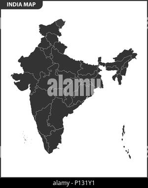 The detailed map of the India with regions or states. Administrative division. - Stock Photo