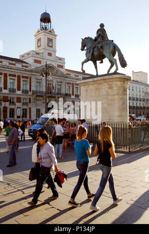 Mounted statue of Charles III of Spain, Puerta del Sol square, Madrid, Spain - Stock Photo