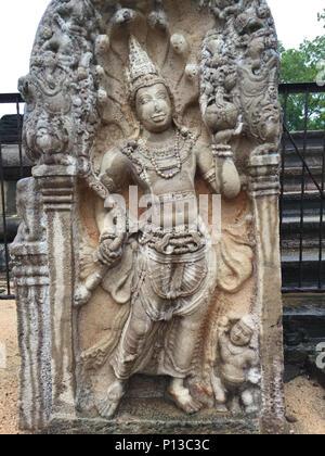 Sri Lanka, North Central Province, Anuradhapura, UNESCO World Heritage Site, Archaeological museum, Cobra King guard stones - Stock Photo