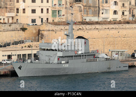The Kenyan Navy patrol vessel KMS Shujaa (P3130) in Malta's Grand Harbour - Stock Photo