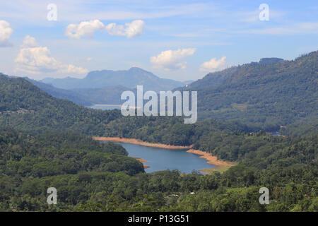 Valley Ramboda in Sri Lanka with view of Kotmale Reservoir. - Stock Photo