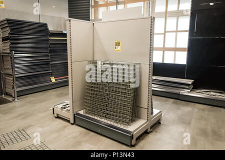 LONDON, UK - 8th June 2018: Store fixtures, Fittings and Equipments on sale at the Maplin store in Eastcheap before it closes down. - Stock Photo