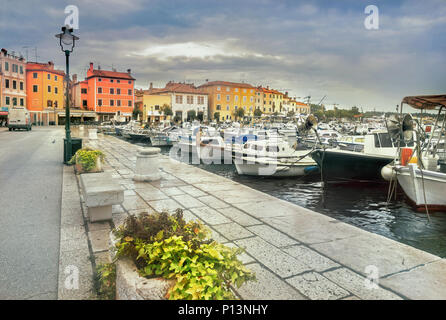 Cityscape with seafront and marina in old town Rovinj. Croatia, Istrian Peninsula, Europe - Stock Photo