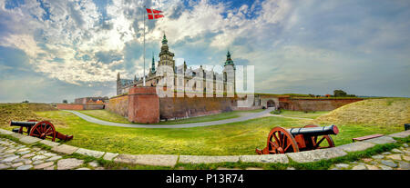Panoramic view of fortifications with defense cannons and fortress walls in Kronborg castle. Helsingor, Denmark - Stock Photo