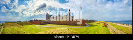 Wide panoramic view of fortifications with defense cannons and fortress walls in Kronborg castle. Helsingor, Denmark - Stock Photo