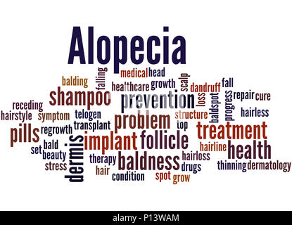 Alopecia, word cloud concept on white background. - Stock Photo