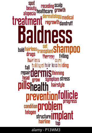Baldness, word cloud concept on white background. - Stock Photo