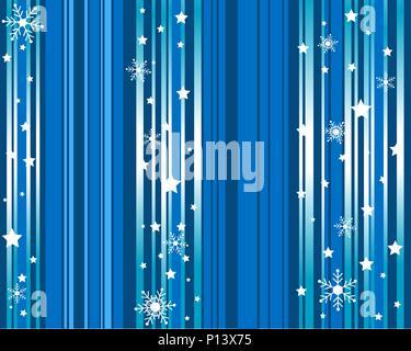 White snow falling on blue background seamless pattern - Stock Photo