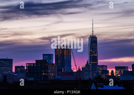 View of Lower Manhattan from Williamsburg, Brooklyn after sunset. - Stock Photo