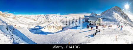 TONALE, ITALY - Jan 20, 2018 - Stunning winter panorama in Tonale ski resort. View of Italian Alps from Adamelo Glacier, Italia, Europe. - Stock Photo