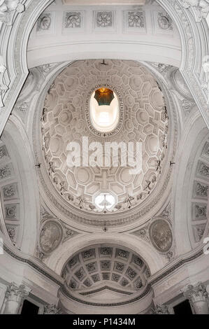 San Carlo alle Quattro Fontane (1634-46), view looking up at vestibule, showing full oval dome (rendered in PS), by F. Borromini, Rome, Italy - Stock Photo