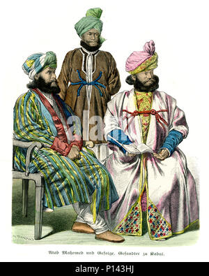 Vintage engraving of History of Fashion, Costumes of Afghanistan, 19th Century.  Atan Mohamed and Retinue and Ambassador of Kabul - Stock Photo