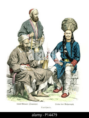 Vintage engraving of History of Fashion, Costumes of Kashmir, 19th Century. Ladak (Ladakh) men from Himalaya and soldier of Moharayah - Stock Photo