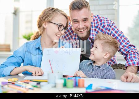 Loving Family Celebrating Fathers Day - Stock Photo
