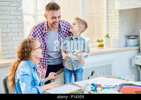 Adorable Family Celebrating Fathers Day - Stock Photo