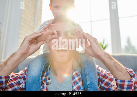 Playing Game with Loving Dad - Stock Photo